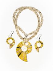 Sada perličkový náhrdelník a náušnice z perleti a resinu  ID1609102-025