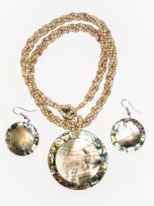 Sada perličkový náhrdelník a náušnice z perleti a resinu  ID1609102-028