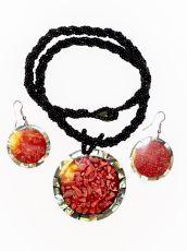 Sada perličkový náhrdelník a náušnice z perleti a resinu  ID1609102-029