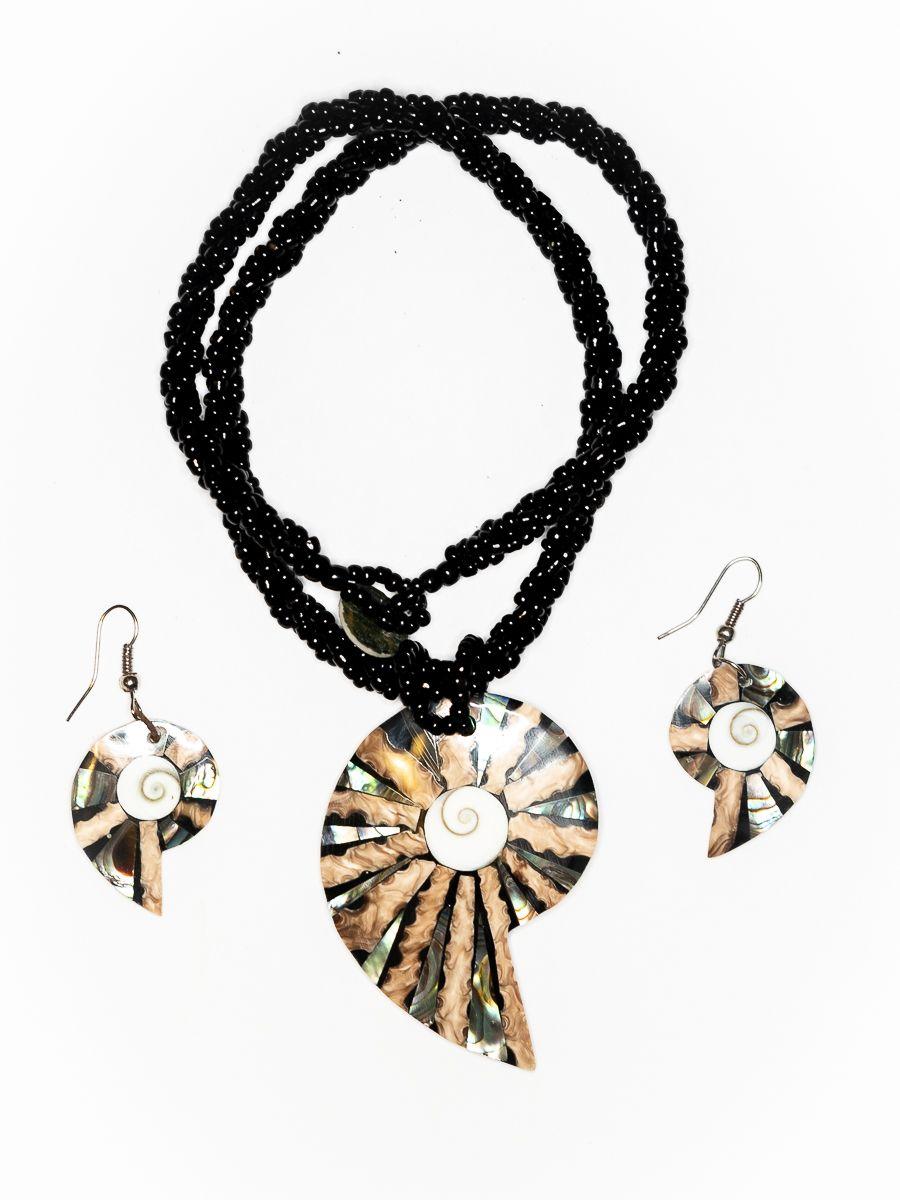 Sada perličkový náhrdelník a náušnice z perleti a resinu - ID1609102-020
