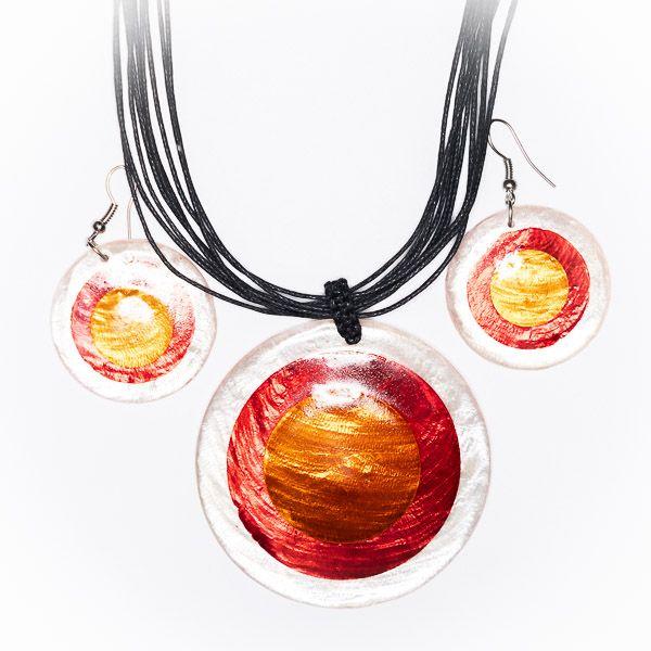 Sada provázkový náhrdelník a náušnice z perleti a resinu ID1609102 016