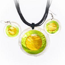 Sada provázkový náhrdelník a náušnice z perleti a resinu  ID1609102-017