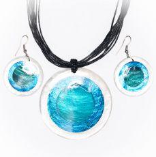 Sada provázkový náhrdelník a náušnice z perleti a resinu  ID1609102-018