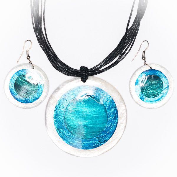 Sada provázkový náhrdelník a náušnice z perleti a resinu ID1609102 018
