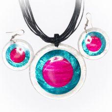Sada provázkový náhrdelník a náušnice z perleti a resinu  ID1609102-019