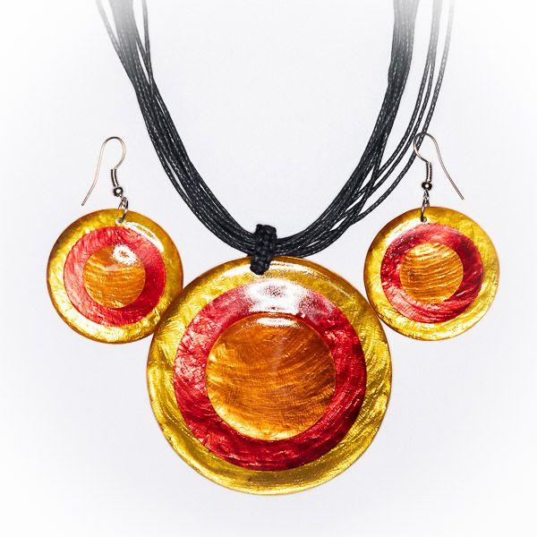 Sada provázkový náhrdelník a náušnice z perleti a resinu ID1609102 015