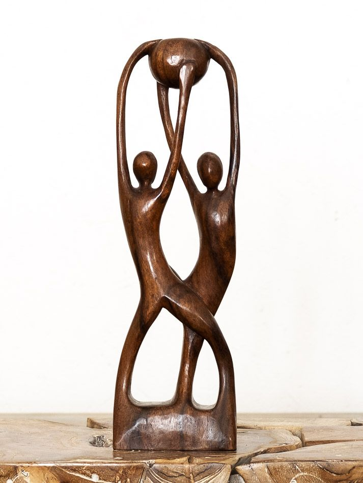 Socha MILENCI, dekorace 40 cm, dřevo Indonésie - ID1609714