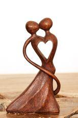 Soška Milenci abstrakt dřevo suar Indonésie 20 cm ID1604839