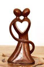 Soška Milenci abstrakt dřevo suar Indonésie 25 cm ID1604840