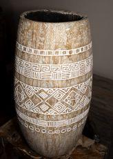 Váza kokosová palma s řezbou 75 cm,  Indonésie ID1601902