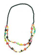 Dřevěný náhrdelník kostěnými kousky - IS0042-02-0452
