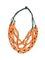 Dřevěný náhrdelník na provázku  IS0042-02-061