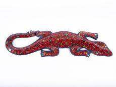 Dekorace na zeď Ještěrka tmavě červená se zelenou 40 cm - ID1715038-02
