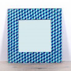 Dekorativní interiérové zrcadlo - skleněná mozaika hranaté 60 cm - ID1602606