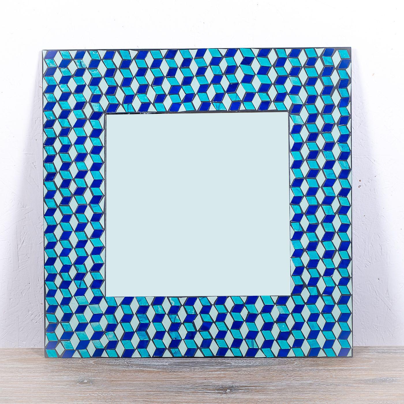 Dekorativní interiérové zrcadlo - skleněná mozaika hranaté 60 cm ID1602606
