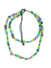 Dřevěný náhrdelník s kostěnými kousky  IS0042-02-057
