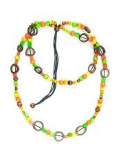 Dřevěný náhrdelník s kostěnými kousky  IS0042-02-058