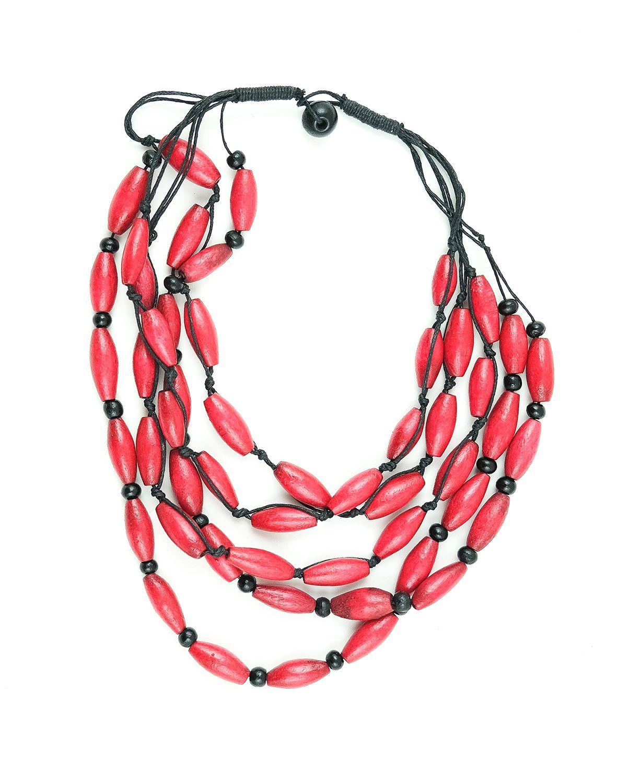 Dřevěný náhrdelník na provázku - IS0042-02-059