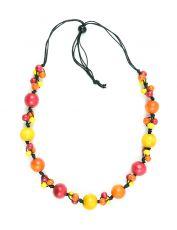 Dřevěný náhrdelník na provázku - IS0042-02-062