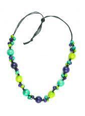 Dřevěný náhrdelník na provázku - IS0042-02-063