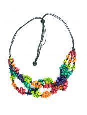 Dřevěný náhrdelník na provázku  IS0042-02-064