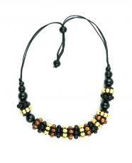 Dřevěný náhrdelník na provázku  IS0042-02-066