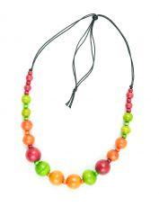 Dřevěný náhrdelník na provázku  IS0042-02-067