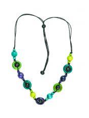 Dřevěný náhrdelník na provázku  IS0042-02-070