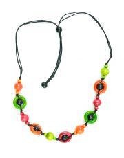 Dřevěný náhrdelník na provázku  IS0042-02-071