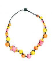Dřevěný náhrdelník na provázku  IS0042-02-072