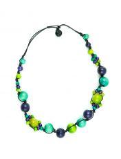 Dřevěný náhrdelník na provázku  IS0042-02-073