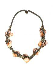 Náhrdelník z provázků s perletí a perličkami IS0004-046