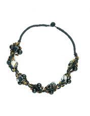 Náhrdelník z provázků s perletí a perličkami IS0004-047