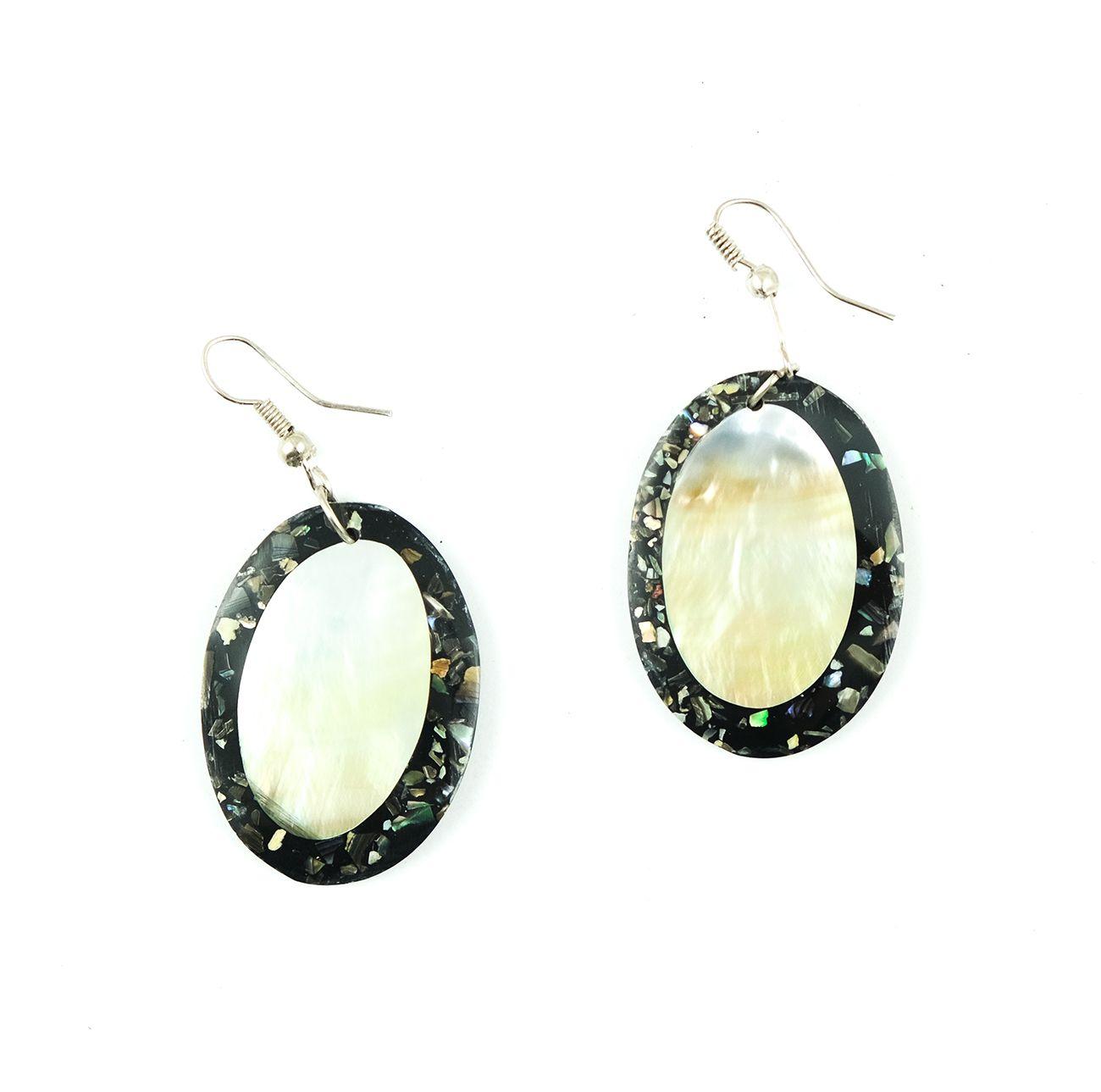 Náušnice - kombinace resin s perletí - IS0011-134