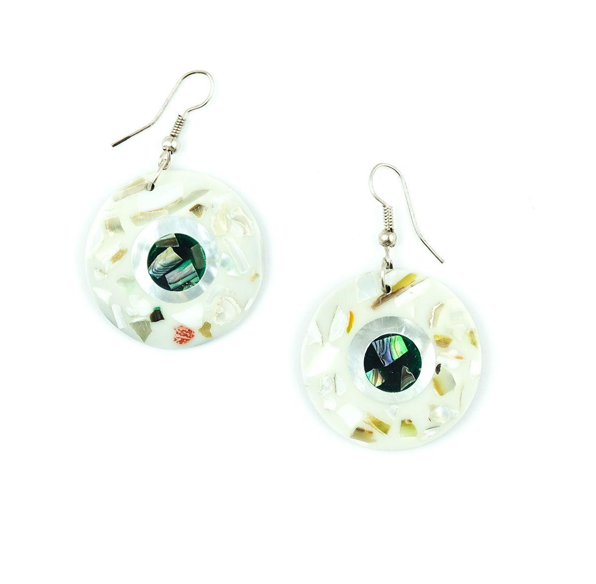 Náušnice - kombinace resin s perletí - IS0011-138