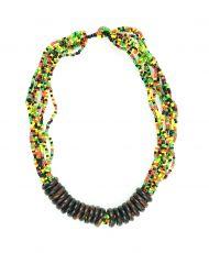 Perličkový náhrdelník s dřevěnými kroužky  IS0042-02-054