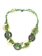 Perličkový náhrdelník kostěnými kousky - IS0042-02-055