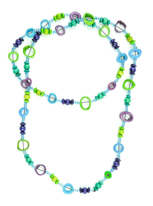 Perličkový náhrdelník kostěnými kousky - IS0042-02-0453