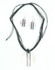 Sada provázkový náhrdelník a náušnice z přírodních materiálů ID1609102-035