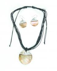 Sada provázkový náhrdelník a náušnice z přírodních materiálů ID1609102-033