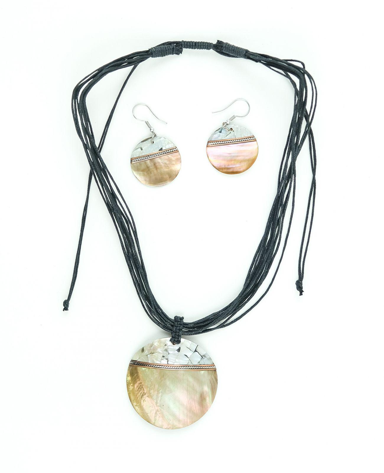 Sada provázkový náhrdelník a náušnice z přírodních materiálů - ID1609102-033