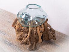 Skleněná nádoba v kusu přírodního dřeva  ID1712512