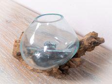 Skleněná nádoba v kusu přírodního dřeva  ID1712513