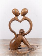 Socha MILENCI - SRDCE, dekorace 29 cm, dřevo Indonésie  ID17110245