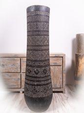 Váza kokosová palma s řezbou 151 cm, atraktivní interiérová dekorace z Indonésie  ID1703101