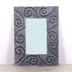 Zrcadlo s dřevěným dekorativním rámem, ruční práce - ID1703318