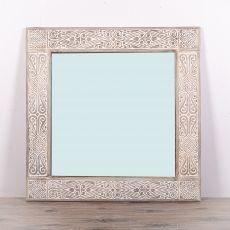 Zrcadlo s dřevěným vyřezávaným rámem 100 x 100 cm, ruční práce - ID1608102
