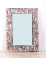 Zrcadlo s dřevěným vyřezávaným rámem 80 x 59 cm, ruční práce  ID1601720