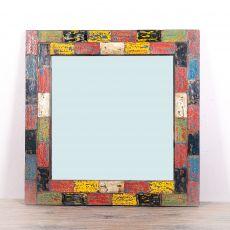Zrcadlo s dřevěným vyřezávaným rámem 80 x 80 cm, ruční práce  ID155-001