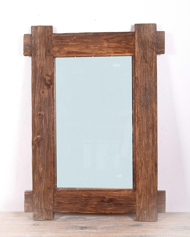 Zrcadlo s rámem z recyklovaného dřeva 108 x 78 cm, ruční práce - ID1607801B